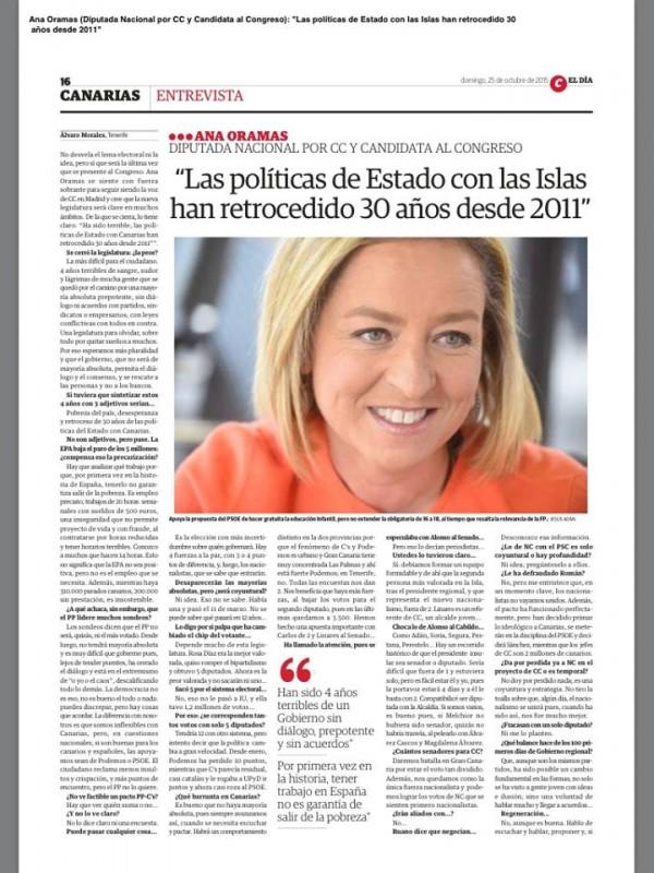 Página del periódico El Día con la entrevista a Ana Oramas